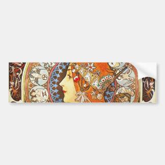 Alphonse Mucha La Plume Zodiac Art Nouveau Vintage Bumper Sticker