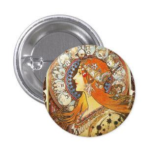 Alphonse Mucha La Plume Zodiac Art Nouveau Vintage Button