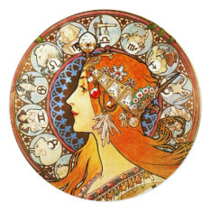 Alphonse Mucha La Plume Zodiac Art Nouveau Vintage Card at Zazzle