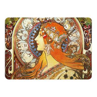 Alphonse Mucha La Plume Zodiac Art Nouveau Vintage Card