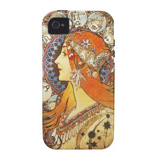 Alphonse Mucha La Plume Zodiac Art Nouveau Vintage Case-Mate iPhone 4 Cases