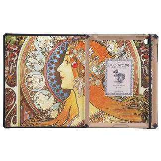 Alphonse Mucha La Plume Zodiac Art Nouveau Vintage iPad Folio Cases