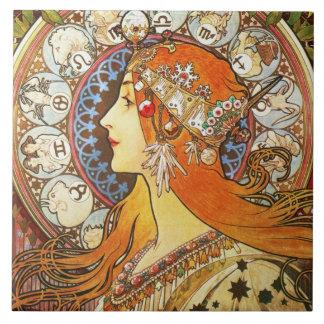 Alphonse Mucha La Plume Zodiac Art Nouveau Vintage Ceramic Tile