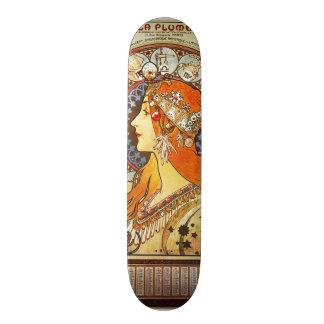 Alphonse Mucha La Plume Zodiac Art Nouveau Vintage Custom Skateboard