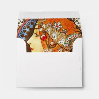 Alphonse Mucha La Plume Zodiac Art Nouveau Vintage Envelope