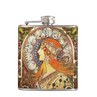 Alphonse Mucha La Plume Zodiac Art Nouveau Vintage Hip Flasks