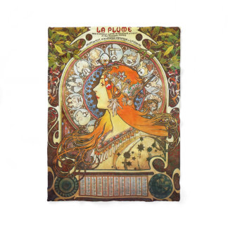 Alphonse Mucha La Plume Zodiac Art Nouveau Vintage Fleece Blanket