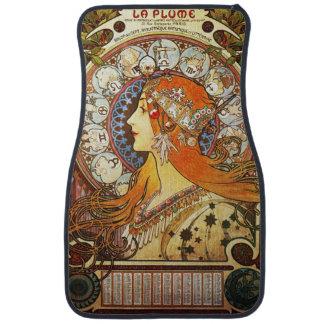Alphonse Mucha La Plume Zodiac Art Nouveau Vintage Floor Mat