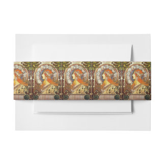 Alphonse Mucha La Plume Zodiac Art Nouveau Vintage Invitation Belly Band