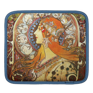 Alphonse Mucha La Plume Zodiac Art Nouveau Vintage iPad Sleeve