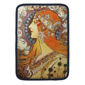 Alphonse Mucha La Plume Zodiac Art Nouveau Vintage Sleeves For MacBook Air