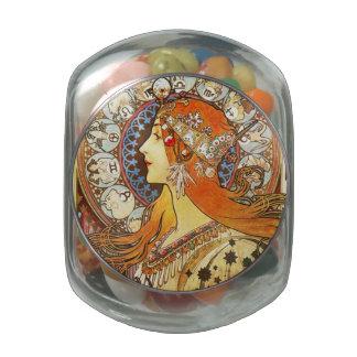 Alphonse Mucha La Plume Zodiac Art Nouveau Vintage Jelly Belly Candy Jars