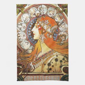 Alphonse Mucha La Plume Zodiac Art Nouveau Vintage Kitchen Towels