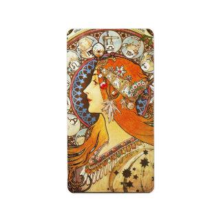 Alphonse Mucha La Plume Zodiac Art Nouveau Vintage Label