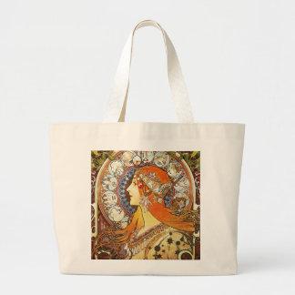 Alphonse Mucha La Plume Zodiac Art Nouveau Vintage Large Tote Bag