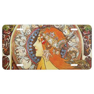 Alphonse Mucha La Plume Zodiac Art Nouveau Vintage License Plate