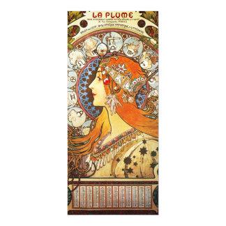 Alphonse Mucha La Plume Zodiac Art Nouveau Vintage Magnetic Card