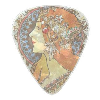 Alphonse Mucha La Plume Zodiac Art Nouveau Vintage Pearl Celluloid Guitar Pick