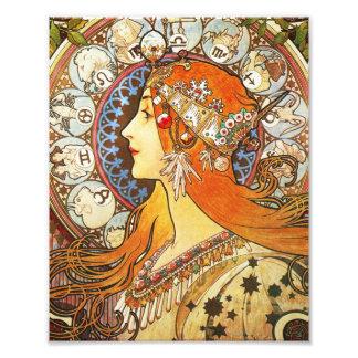 Alphonse Mucha La Plume Zodiac Art Nouveau Vintage Photo Print