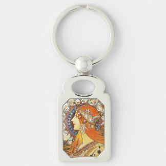 Alphonse Mucha La Plume Zodiac Art Nouveau Vintage Silver-Colored Rectangular Metal Keychain