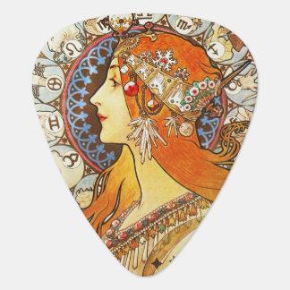 Alphonse Mucha La Plume Zodiac Art Nouveau Vintage Pick