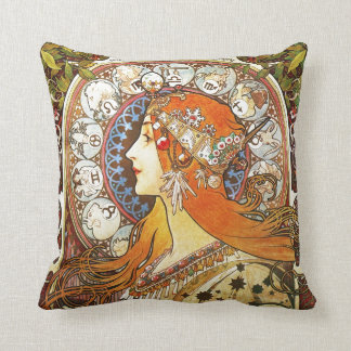 Alphonse Mucha La Plume Zodiac Art Nouveau Vintage Throw Pillow