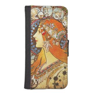 Alphonse Mucha La Plume Zodiac Art Nouveau Vintage iPhone 5 Wallet Cases