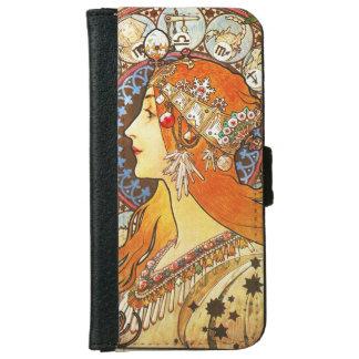 Alphonse Mucha La Plume Zodiac Art Nouveau Vintage iPhone 6 Wallet Case