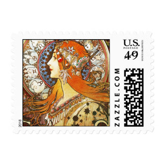 Alphonse Mucha La Plume Zodiac Art Nouveau Vintage Postage