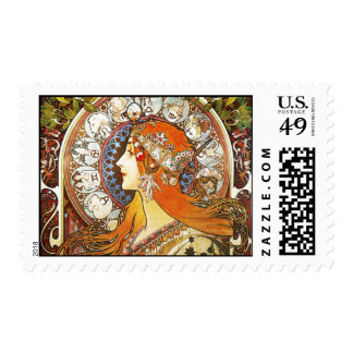 Alphonse Mucha La Plume Zodiac Art Nouveau Vintage Postage Stamp