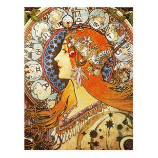 Alphonse Mucha La Plume Zodiac Art Nouveau Vintage Postcard