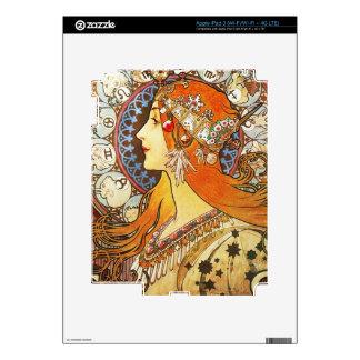 Alphonse Mucha La Plume Zodiac Art Nouveau Vintage Skin For iPad 3