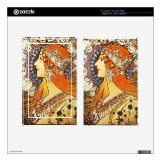 Alphonse Mucha La Plume Zodiac Art Nouveau Vintage Skin For Kindle Fire