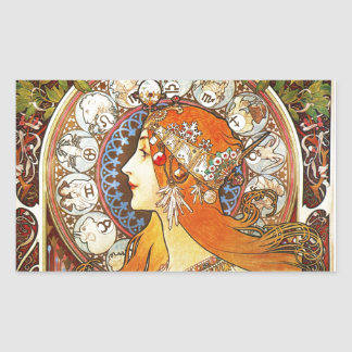 Alphonse Mucha La Plume Zodiac Art Nouveau Vintage Rectangular Sticker