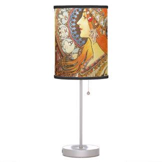 Alphonse Mucha La Plume Zodiac Art Nouveau Vintage Table Lamp