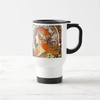 Alphonse Mucha La Plume Zodiac Art Nouveau Vintage Travel Mug
