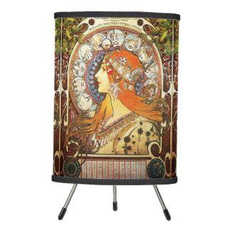 Alphonse Mucha La Plume Zodiac Art Nouveau Vintage Tripod Lamp
