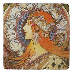 Alphonse Mucha La Plume Zodiac Art Nouveau Vintage Trivet