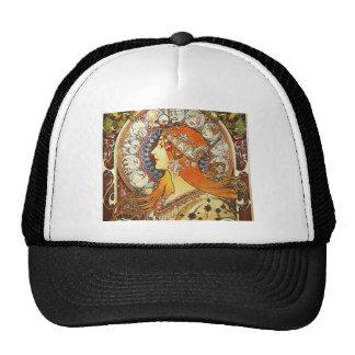 Alphonse Mucha La Plume Zodiac Art Nouveau Vintage Trucker Hat