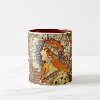 Alphonse Mucha La Plume Zodiac Art Nouveau Vintage Two-Tone Coffee Mug