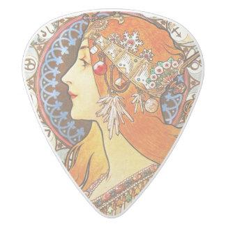 Alphonse Mucha La Plume Zodiac Art Nouveau Vintage White Delrin Guitar Pick