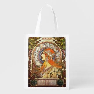 Alphonse Mucha La Plume Zodiac Art Nouveau Vintage Reusable Grocery Bags