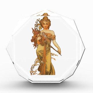 Alphonse Mucha - Lady Holding Flowers Acrylic Award