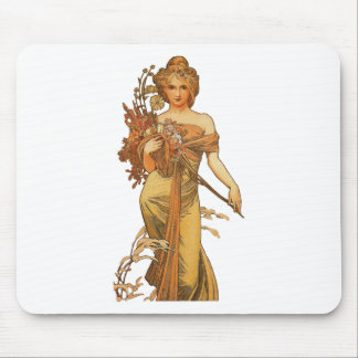 Alphonse Mucha - Lady Holding Flowers Mouse Pad