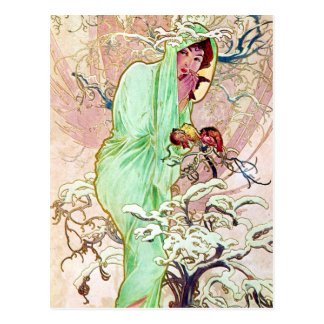 Alphonse Mucha Lady In Green Cape Postcard