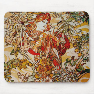 Alphonse Mucha - Lady with a Daisy Mouse Pad