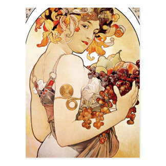 Alphonse Mucha Lady With Fruit Postcard