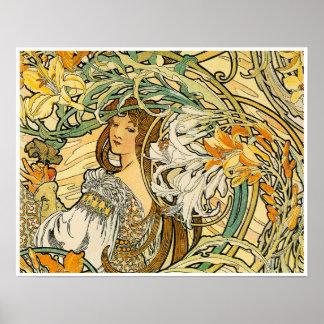 Alphonse Mucha:  Language of Flowers Poster
