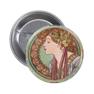 Alphonse Mucha Laurel Art Nouveau Button Pin