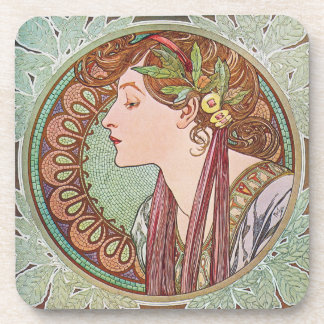 Alphonse Mucha Laurel Art Nouveau Coaster Set